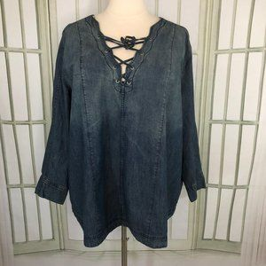 Denim 24/7 Womens Tunic Denim Blouse Lattice VNeck